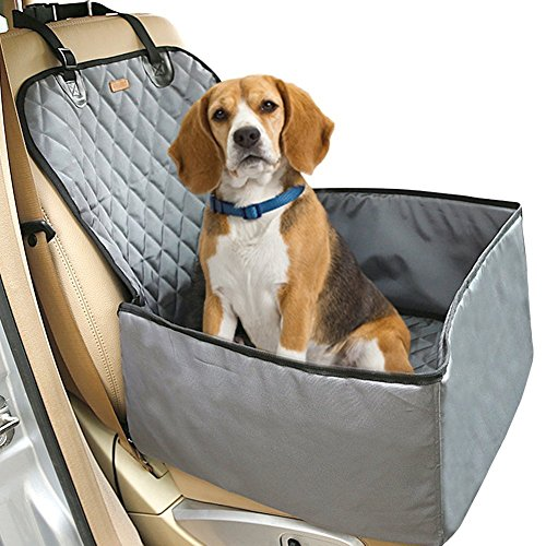 Waterproof Dog Car Seat to Protect from Pet Hair Mud and Dirty Paws with Prime Grade Nylon Tarps Fabric Pet Booster Seat | Washable Pet Car Seat with Effortless Installation for Car Trucks SUV | Grey