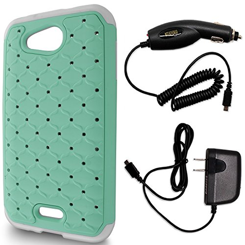 - CoverON Aurora Series for Kyocera Hydro Air / Kyocera Hydro Wave Hybrid Phone Case with Hard Diamond Rhinestone Bling Bundle with Micro USB Home Wall Charger + Car Charger - (Teal & White)