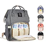 Image of Diaper Bag Multi-Function Waterproof Travel Backpack Nappy Bag for Baby Care with Insulated Pockets, Large Capacity, Durable (Grey)