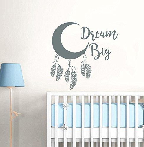 Amazon.com: Dream Big Wall Decal / Feather Moon Nursery Wall Decal ...