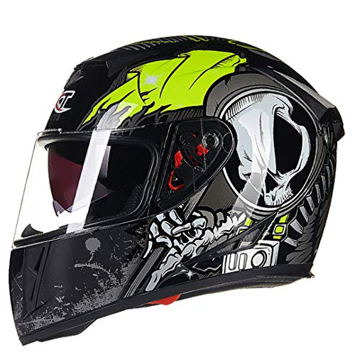 ShenZhiWing Flip UP Motorcycle Helmets Winter Racing Motorbike Helmets green2 M