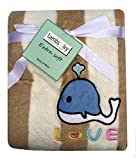 Lambs & Ivy Baby Blankets - Warm and Cozy, Extra Soft Coral Fleece Blanket, Love and Whale Theme, 30 x 40