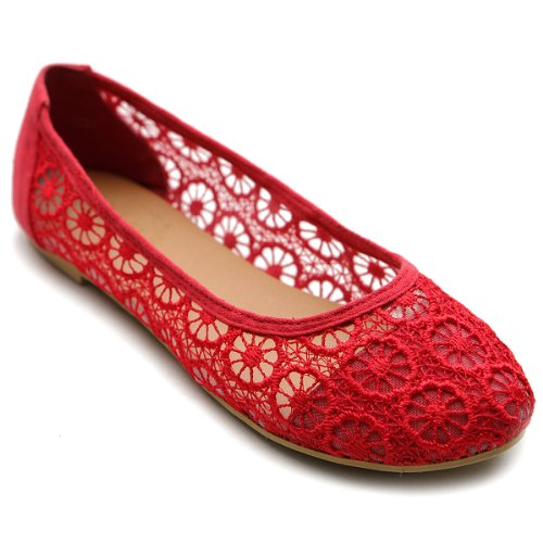 Ollio Women's Ballet Shoe Floral Lace Breathable Flat(9 B(M) US, Red) (Red Lace Flats Shoes Women)