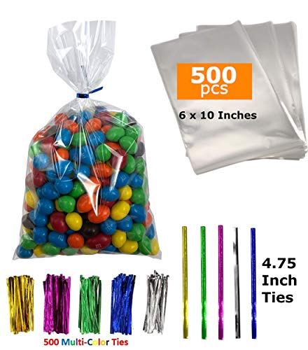 500 Cellophane Bags 10 x 6 Inches – Cello Bags – Cellophane Gift Bags – Large Clear Cellophane Bags – Cellophane Bags for Cookies – Cellophane Treat Bags – Large Clear Gift Bags with 500 Color Ties