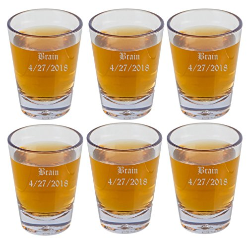 (Gifts Infinity Personalized Set of 6 SHot Glasses Free Engraving Groomsman and Bridesmaid)