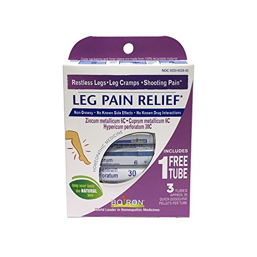 Boiron Leg Pain Relief, 3 Pack of 80-Pellet Tubes, Zincum metallicum 6C Cuprum mettalicum, 6C Hypericum perforatum 30C, Homeopathic Medicine to Relieve Restless Legs Leg Cramps and Shooting Pain