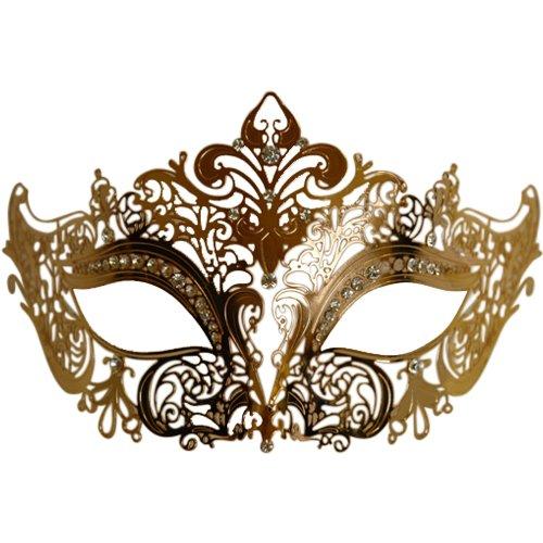 KBW Global Corp Gold Metal Venetian Mask - Mask Deluxe Venetian