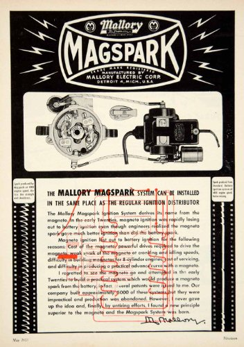 1953-ad-mallory-electric-magspark-ignition-system-car-automobile-parts-engine-original-print-ad
