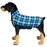 BESAZW Dog Coat Vest Windproof Warm Dog Jacket Cold Weather Outdoor Extra Protection Plaid Jacket Small Medium Large Dogs,Blue XL For Sale
