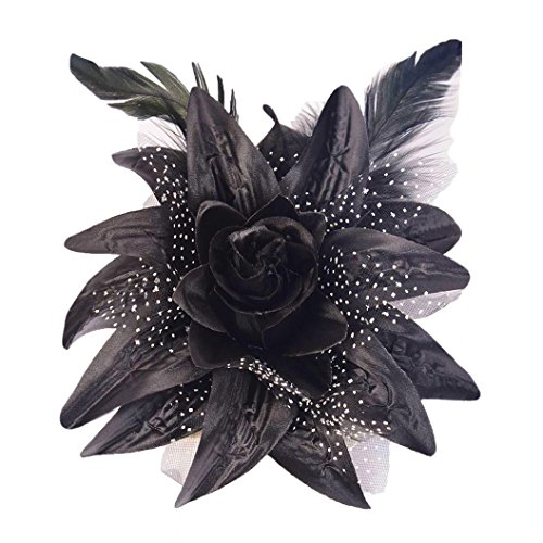 "WD2U 5"" Dotted Lily Flower Hair Bow Alligator Clip & Brooch Black 1086"