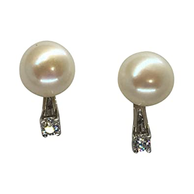 e9e8aae59 Image Unavailable. Image not available for. Color: Tiny Sterling Silver 9mm Cultured  Freshwater Pearl Stud Earrings w/CZ Earring Jackets