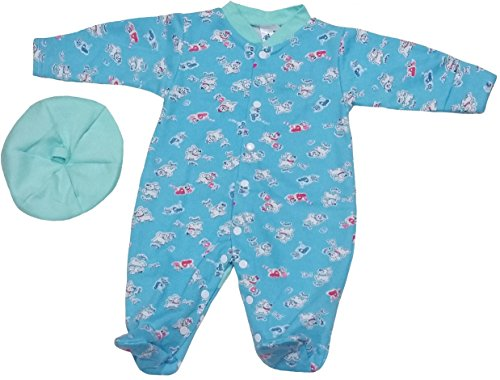 TenTeeTo Baby Boys Bodysuit Footies and Hat Clothes for Newborn or Infant Blue (3-6 Months, Blue/Puppy/Cat) - Add On Items Ropa