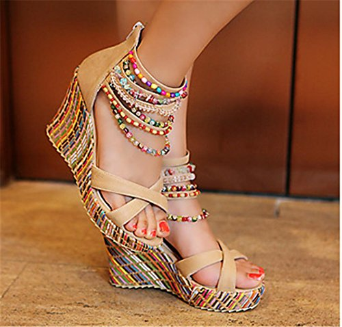 apricot Summer Personality HETAO PU Gift Casual Sandals Spring amp; Wedge Pearl Fall Heel Party Evening Dress Orange Women's Blue Girl's dHwSwqC