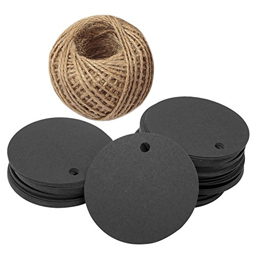 Halloween Projects Printables (G2PLUS Kraft Paper Gift Tag with 100 Feet Jute Twine, Round Shaped 5.5 cm Blank Hang Tags for Craft Projects, Xmas Gifts)