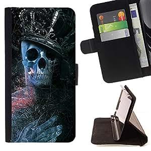 Momo Phone Case / Flip Funda de Cuero Case Cover - Rey Esqueleto;;;;;;;; - Motorola Moto E ( 2nd Generation )