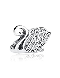 Everbling Majestic Swan With Clear CZ 925 Sterling Silver Bead Fits Pandora Charm Bracelet