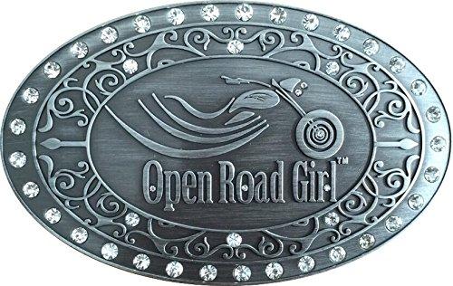 Open Road Girl Belt Buckle: Biker Rhinestone Buckle for Women: - Biker Buckle
