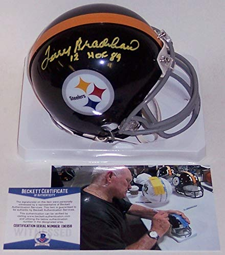 Terry Bradshaw Autographed Hand Signed Pittsburgh Steelers Throwback Mini Football Helmet - with 1989 Hall of Fame inscription - BAS - Helmet Football 1989