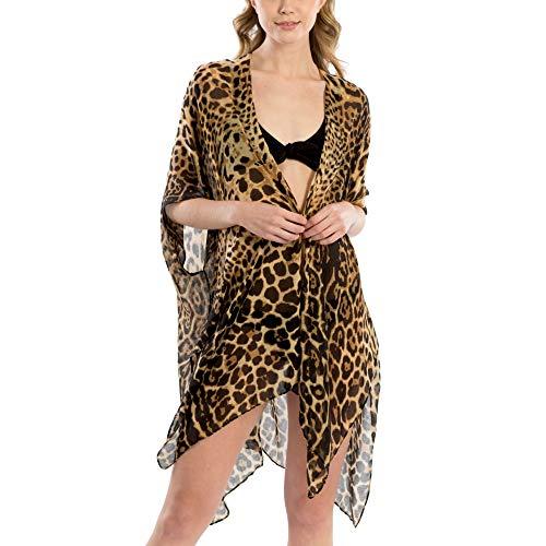 (Me Plus Women Fashion Summer Beach Animal Print Cover Up Shawl Wrap Kimono (Animal Print - Brown) )