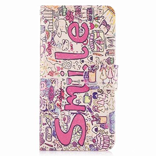 Yiizy Samsung Galaxy J2 Prime / G532M / G532F / G532G Funda, Sonrisa Diseño Solapa Flip Billetera Carcasa Tapa Estuches Premium PU Cuero Cover Cáscara Bumper Protector Slim Piel Shell Case Stand Ranur