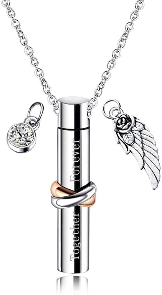 smydp Necklaces Cylindrical Commemorate Loved Ones Pet Ashes Pendant Necklace Unisex Necklace Stainless Steel Jewelry Gift 50Cm