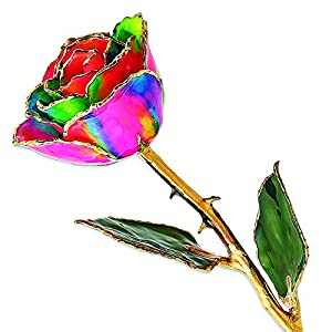 Allmygold Jewelers Long Stem Dipped Aurora Neon Rainbow Lacquered Rose 50