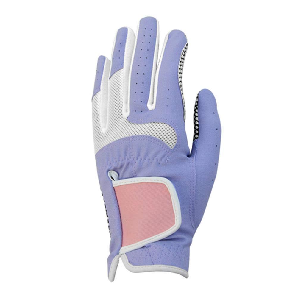 レディース ゴルフグローブ 通気性 ウェアラブル スポーツグローブ ノンスリップ パーチクル 快適 合成レザー ライクラ 伸縮繊維手袋 HH0023718ZkLC  Purple-20 B07Q9Q1FPX