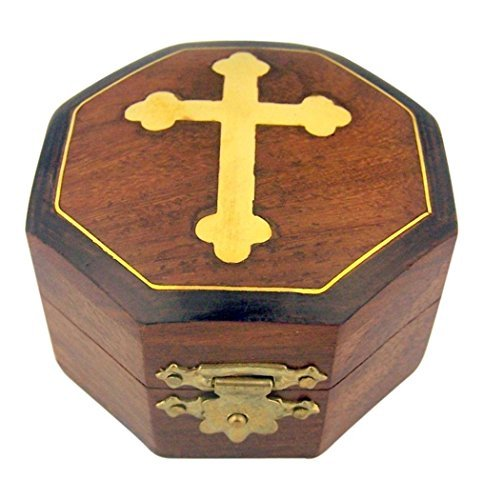 CB Brown Wood Rosary Box with Gold Budded Cross, 2 3/4 Inch