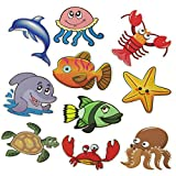 Haulonda Non-Slip Bathtub Stickers,Sea Creature Safety Shower Decals,Adhesive Anti-Slip Appliques for Kids Bath Tub Shower Surfaces(10pcs)