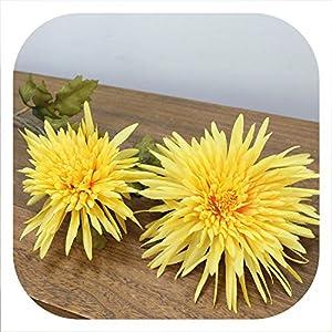 Memoirs- Artificial 2 Heads Marigold Flower Silk Fake Chrysanthemum Flowers Simulation Plants Wedding Party Decorative Home Decor,Yellow 40
