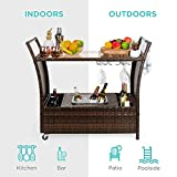 Best Choice Products Outdoor Rolling Wicker Bar
