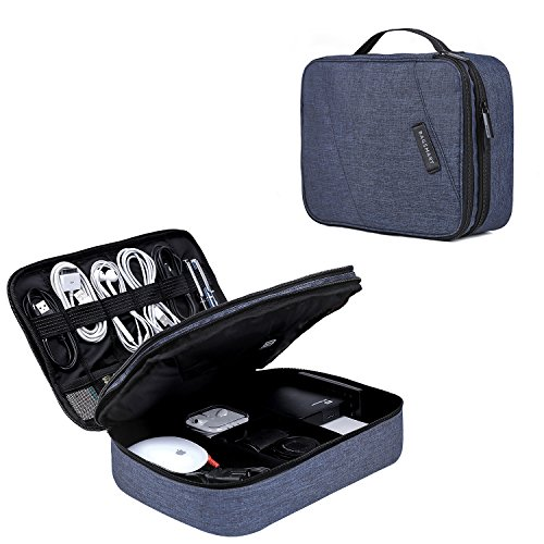 BAGSMART Double Layer Travel Universal Cable Organizer Cases Electronics Accessories Storage Bag for 10.5 iPad Pro, iPad air, Charger, Kindle, Blue