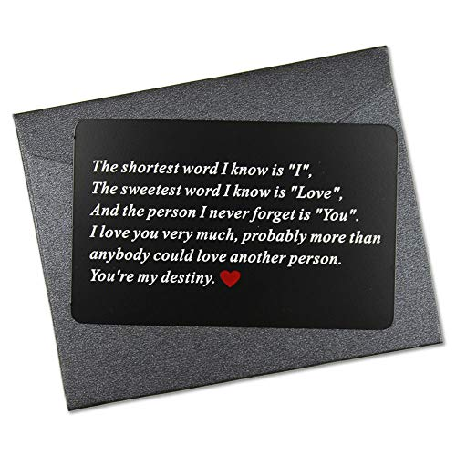 Vanfeis Metal Engraved Mini Love Note Wallet Insert Card - Wedding Anniversary Gifts for Men, Him - Birthday Gifts for Husband, Boyfriend - Deployment Gift for Women, Her, Unique Engagement -