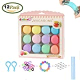 simuer 12 Pack Slime Macaroon Kit, Macaron Putty Crystal Mud Jelly Slime Clay Soft Stress Relief Toys For Kids Adults Students Party Games DIY Gift 12 Colors