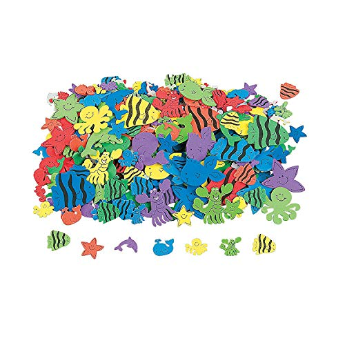 500 Under the Sea Foam Self-Adhesive Shapes/Peel Off Stickers/SCRAPBOOKING SUPPLIES/Dolphin/Octopus/Whale/Fish Shapes ()