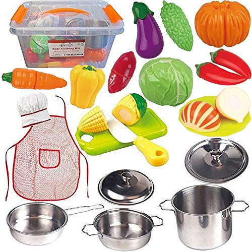 FUNERICA Toddler Play Kitchen Accessories Set, Stainless-Steel Toy Pots and Pans, Kids Apron & Chef Hat Set, Play Cut Vegetables with Knife, Play Kitchen Utensils, and Beautiful Storage ()
