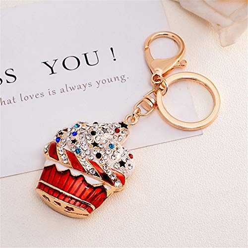 (GH8 Kawaii Cute Rhinestone Colorful ice Cream Shape As Charms Car Key Chains Key Ring Tassels Keyring Keychains linnor Women Bag Charms DIY (Red Type))