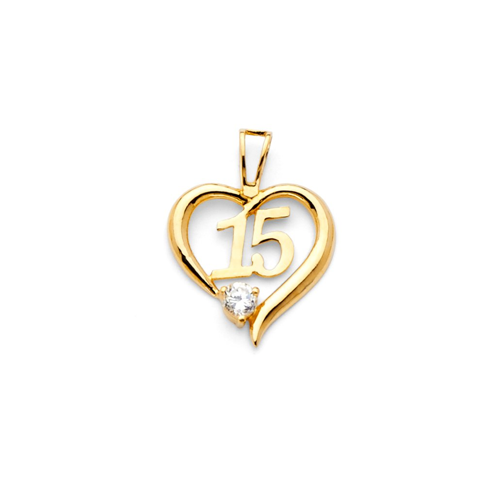 Million Charms 14k Yellow Gold High Polished Heart Charm with Number 15 Center Pendant 15mm x 15mm Accented with White CZ Stone