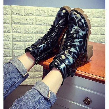 ZJJ Donne stivali invernali piattaforma PU Abito Casual tacco fibbia / cerniera / Black Lace-up Walking , us7.5 / eu38 / uk5.5 / cn38