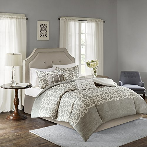 Delightful Madison Park MP12 2924 Cortana 6 Piece Duvet Cover Set, King/California  King, Grey
