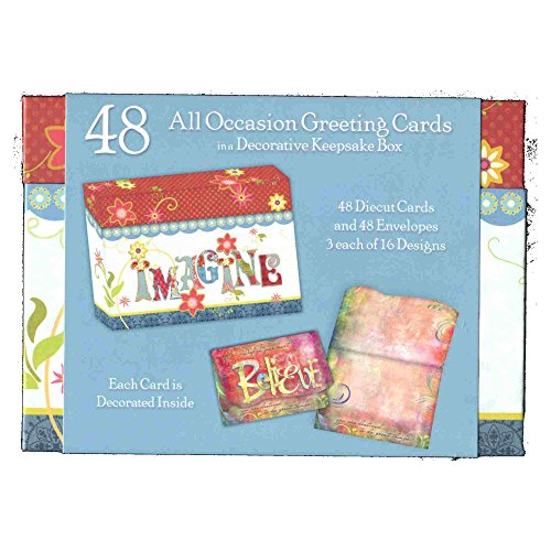 48 Assorted 4x6-inch Die-cut All Occasion Greeting Cards in a Decorative Keepsake Box Decorative Cards