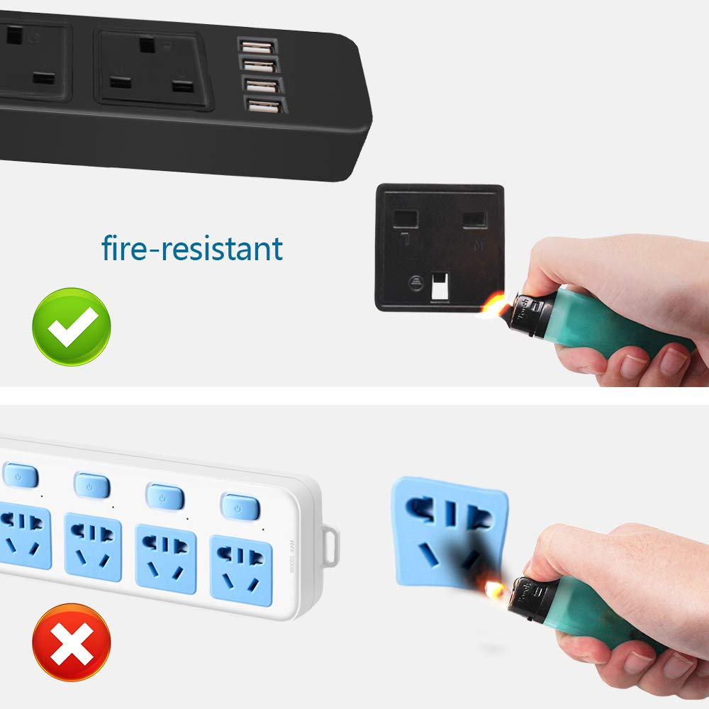 Extension Lead with USB 3 gang power strip with 4 usb charger 2M black surge protector with Overload Protection