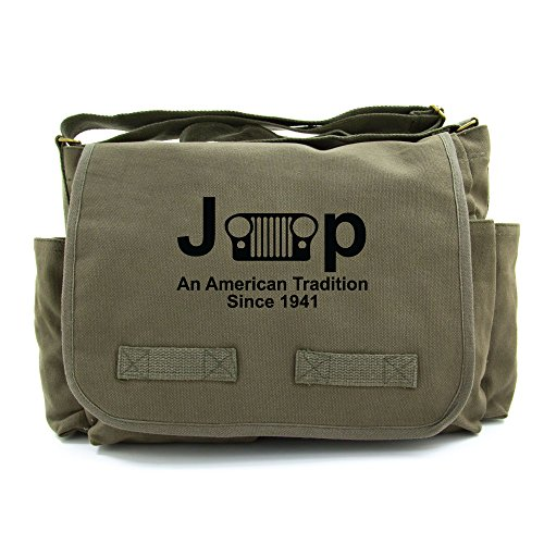 Jeep An American Tredition Army Heavyweight Canvas Messenger Shoulder Bag in Olive & Black