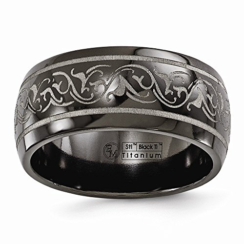 Jewels By Lux Edward Mirell Titanium Domed Laser Patterned 10mm Wedding Band Size 12
