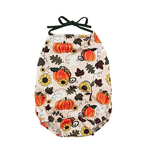 Newborn Baby Girls Thanksgiving Romper Pumpkin Bodysuit Sleeveless Backless Clothes Outfit ()