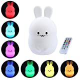 Leegoal(TM) Soft Silicone Rechargeable LED Night Light with Remote,Cute Bunny Rabbit LED Multicolor Nursery Lamp for Kids Baby Children Toddler Infant Review