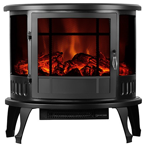- KUPPET 23' Standing & Wall Mounted Electric Fireplace Space Heater with Bracket and Glass in Rooms Stove Simulation Flame, Cobblestone, Adjustable Heater, with Remote, 750W-1500W, Black