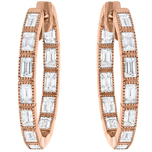 Olivia Paris Certified 14k Rose Gold Baguette Cut Diamond Earrings (1 1/2 cttw, F-G, VS1-VS2) (Baguette Cut Diamond Earrings)