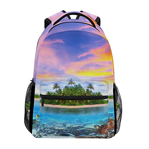 TropicalLife Summer Ocean Sea Beach Theme Backpacks School Bookbag Shoulder Backpack Hiking Travel Daypack Casual Bags by TropicalLife