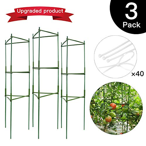 (IPSXP Vegetable Trellis, Garden Plant Support Stakes for Climbing Plants, Vegetables, Flowers, Fruits, Vine, 3 Garden Trellis with 40 Adjustable Cable Tie)